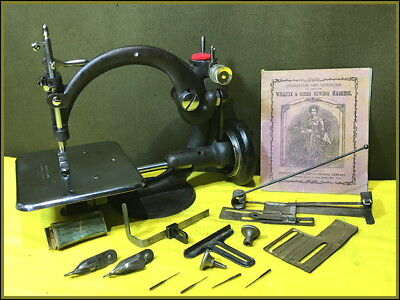 Rare 1858~ Cute Lil Old Willcox & Gibbs Glass Tension Sewing Machine ~Antique