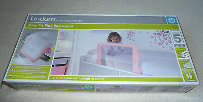 Lindam Toddler Easy Fit Bed Rail Guard Bedtime Toddler Safety Pink Bed Guarf
