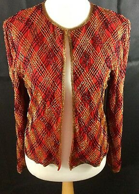 Vintage 100% silk beaded Deco evening jacket from Papell Boutique Party  Sz  M