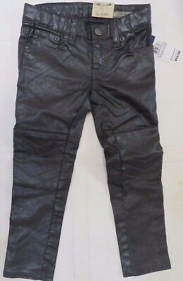 Girls trousers black leather look skinny DESIGNER 6 7 8 910 11 years NEW RRP £55