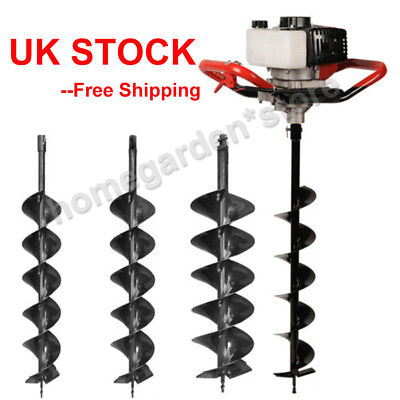 52cc Petrol Earth Auger Fence Post Hole Borer Ground Drill + 3 Bits Garden Tool