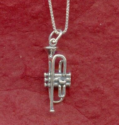 Sterling Silver Trumpet Necklace New 925 3D Charm Pendant and Chain