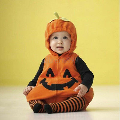 Baby Toddler Pumpkin Halloween Costume Fancy Dress Romper Vest Outfits 6-12M UK