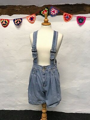 VINTAGE HIGH WAIST STRAPPY SHORTS DENIM DUNGAREES BLUE 90s (du4) SIZE 8-10 SMALL