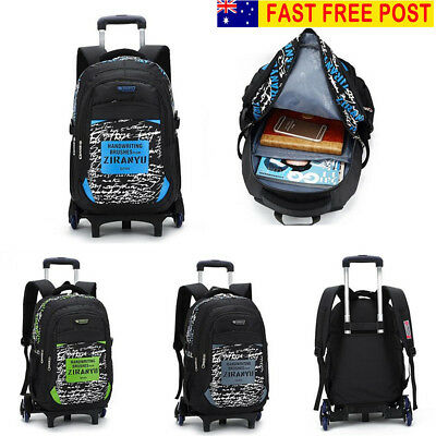 Children Removable Trolley Backpack School Bags Kids Wheeled Bag Travel Luggage