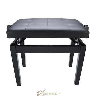 Height Adjustable Leather Piano Wood Bench Storage Keyboard Stool Padded Seat