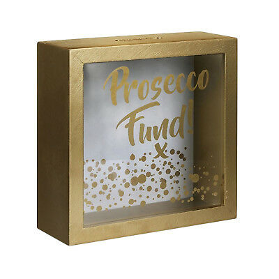 Vintage Gift Wood Prosecco Fund Money Box Coin Penny Saving Bank Gold Colour