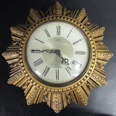 Vintage SMITHS 8 Day Floating Balance Gilt SUNBURST Wall Clock