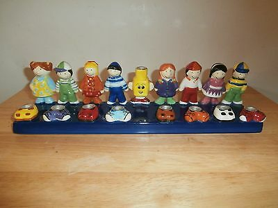 2004 Rite Lite Hand painted Ceramic Friends Menorah by Susan Fisher Weiss