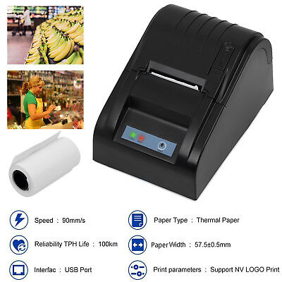 High Speed 58mm USB POS Cash Line Thermal Dot Receipt Printer Set Paper Roll