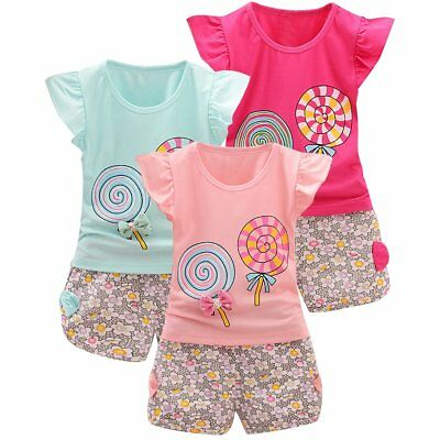 Kids Baby Girls Toddler Lollipop Outfits Clothes T-Shirt+Floral Shorts 2PCS Set
