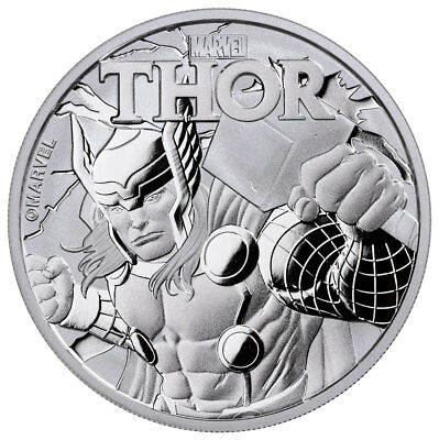 2018 Tuvalu Thor 1 oz Silver Marvel Series $1 BU Original Mint Capsule SKU49351