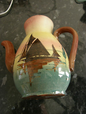 """Torquay Pottery, Coffee Pot no lid, Boat & Motto """"Duee help Yourself"""""""