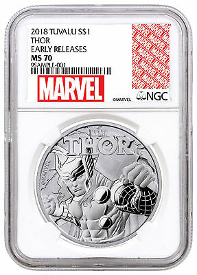2018 Tuvalu Thor 1 oz Silver Marvel Series $1 NGC MS70 ER Excl Label SKU49362