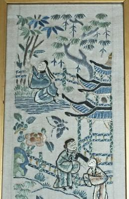 ANTIQUE QING CHINESE SILK EMBROIDERY SLEEVE PANEL 19th C FIGURES ON SILK #1