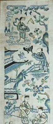 ANTIQUE QING CHINESE SILK EMBROIDERY SLEEVE PANEL 19th C FIGURES ON SILK #2