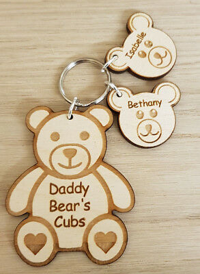 Personalised Fathers Christmas Teddy Bear Gift Wooden Keyring Dad Daddy Birthday