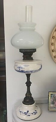early 20thC china & lacquered brass oil lamp reservoir blue white oriental scene