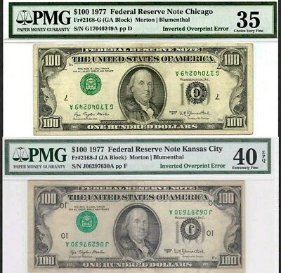 *TWO $100 ERROR NOTES* 1977 $100 Inverted Overprint Type I Errors! PMG 35 & 40!