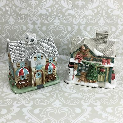Partylite Christmas Village Tealight Houses Toy Shop and Coffee Shop Lot of 2
