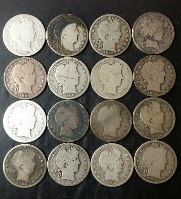 Lot of 16 50c Barber Silver Half Dollars