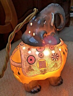 Vintage Electric German Aerozon Porcelain Elephant Perfume Lamp, Scent Lamp