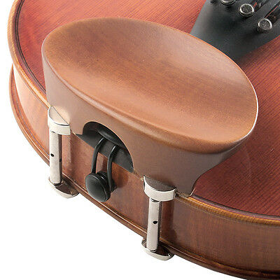 Flat Flesch 3/4-4/4 Boxwood Violin Chinrest with Hill Bracket - FAST SHIPPING!