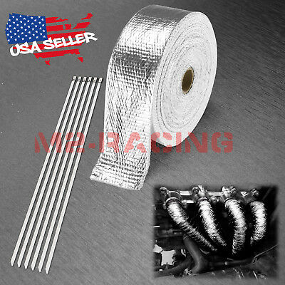 """Silver Exhaust Pipe Insulation Thermal Heat Wrap 2"""" x 50' Motorcycle Header"""
