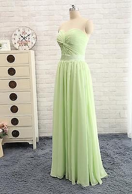 New Green New Long Chiffon Formal Evening Gown prom Dress US size 4 Lace-up