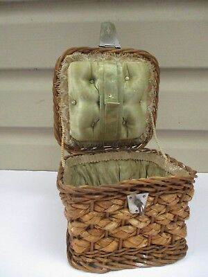 Antique Victorian Wicker Candy Box W/ Cushion or Possible Sewing Supply Storage