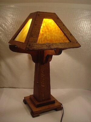 Mission Arts and Crafts Oak Slag Glass Table Lamp 0ld