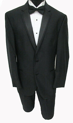 "NWT Black Joseph Abboud ""Quartz"" Tuxedo with Flat Front Pants Wedding Mason Prom"