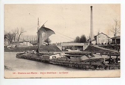 CHALONS Chalons en champagne Marne CPA 51 usine canal peniche à voile