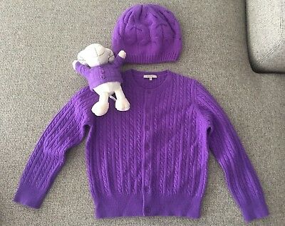 Girl's 100% cashmere cardigan sweater, hat & toy set in purple - size 5
