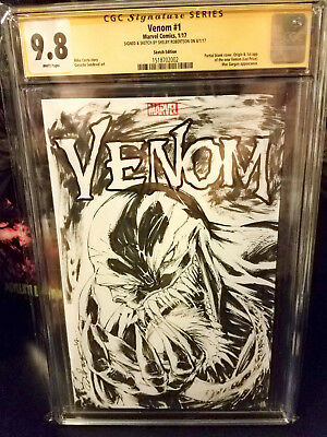 VENOM 1 CGC 9.8 ORIGINAL VENOM INKED SKETCH COVER by Robertson htf FREE SHIP