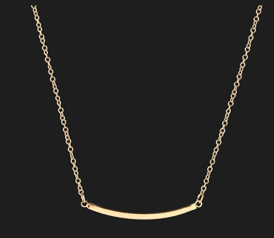 """Gold Plated Curved Bar Pendant Necklace Womens Fashion Jewelry Arc 20"""" Tube"""