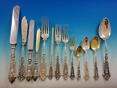 German 800 Silver Figural No. 36 Flatware Set Service Dinner Size 204 Pieces