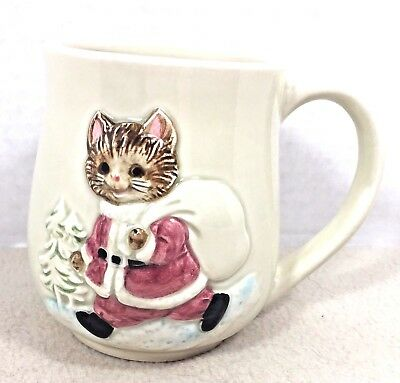"Vintage Otagiri 3D Embossed Coffee Mug Cup  Christmas ""Santa"" Cat Graphic"