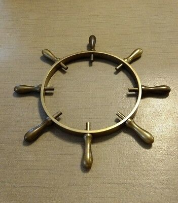 Solid Brass Ships Wheel. Minus The Clock or Barometer Heavy