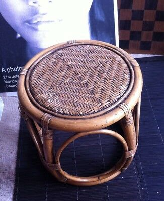 Great Vintage Retro rattan wicker stool Small Table mid century bamboo 60's/70's