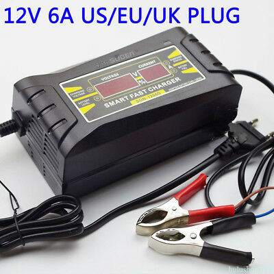 12V 6A Smart Fast Lead-acid Battery Charger for Car Motorcycle LCD US Plug SALE