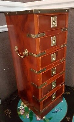 Reproduction Campaign  Style Small Bank of Drawers Treasure Chest Brass Fittings