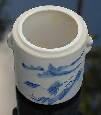 Old Stoneware Blue and White Chinese Lidded Jar
