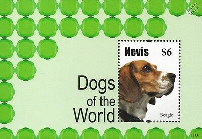 Beagle Dogs of the World Stamp Sheet (2011 Nevis)