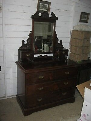 Antique Late Victorian Ornate Dressing Table With Matching Swing Mirror.delivery