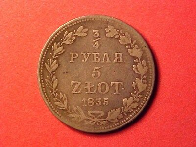 Poland Under Russia 3/4 Rouble 5 Zlotych Silver 1835 Mw Scarce