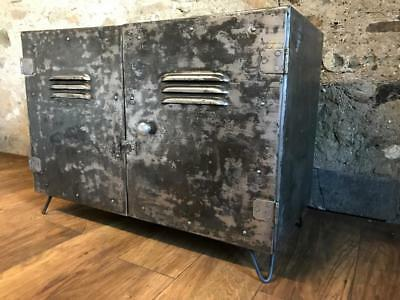 Vintage Industrial Stripped Metal Cabinet Coffee Table Tv Stand Record Cabinet