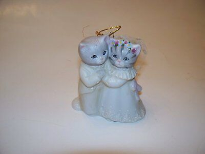 Kitty Cucumber Bride & Groom Christmas Ornament Cats 1987 Schmid Rare