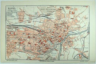 Original 1906 City Map of Kassel, Germany by Meyers.