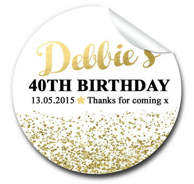 Personalised BIRTHDAY PARTY party favours stickers labels gold glitter confetti